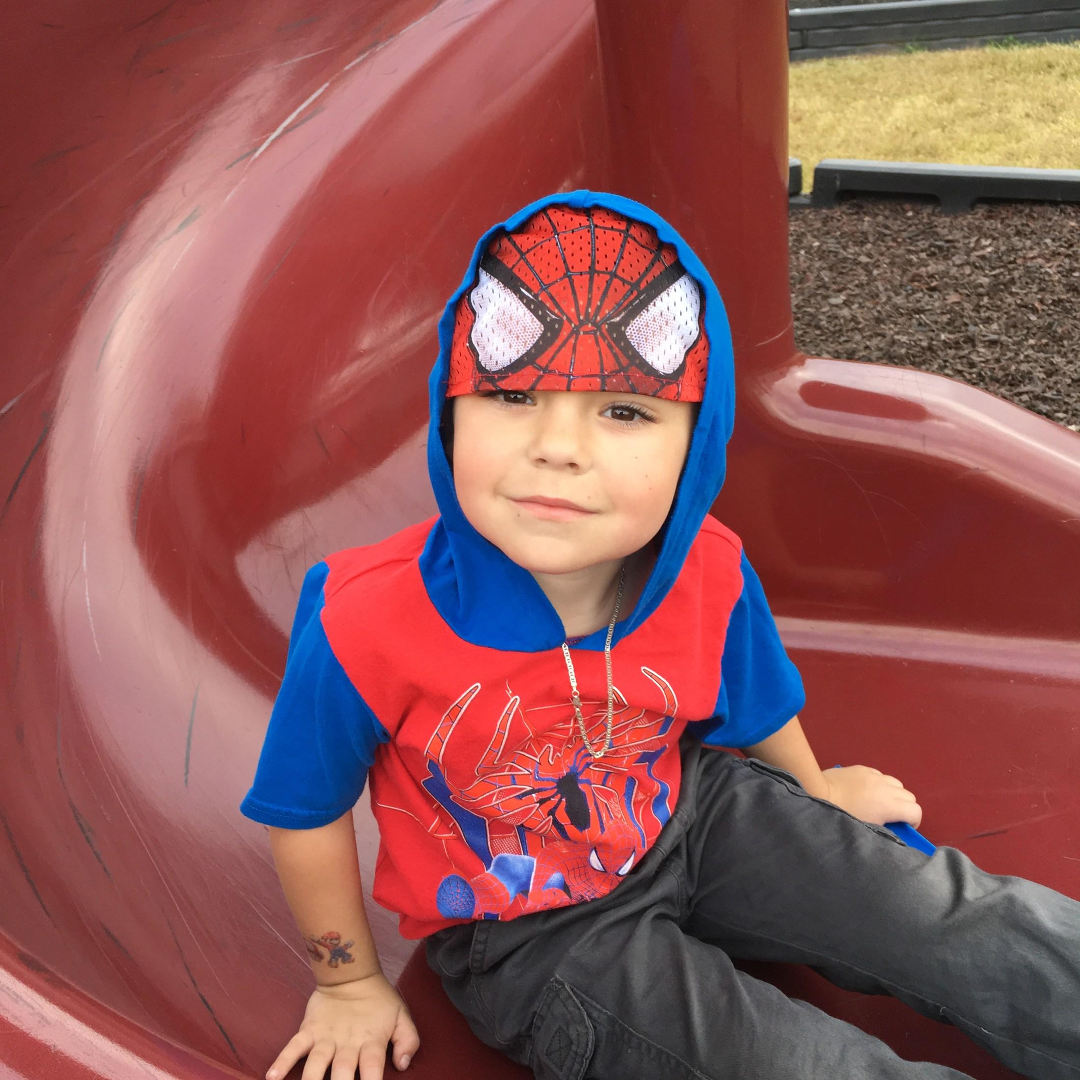 prek student in spider man suit