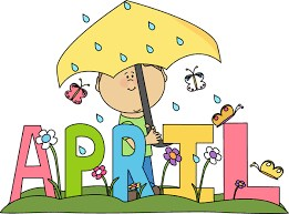 kid holding umbrella in the rain behind the word April