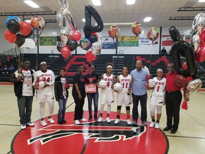 Group photo of Baker High Senior Lady Buffs and Families