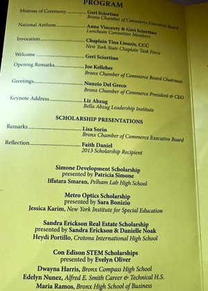 Inside of Luncheon program. Listing speakers, presenters and Jessica.