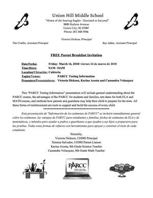 PARCC Testing Invitation and Agenda