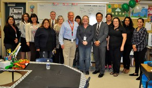Holland Middle School Teacher Terri L. Armstrong stands with administrators, fellow teachers, school board members and union leaders after being named Baldwin Park Unified's 2018 Teacher of the Year on April 17.