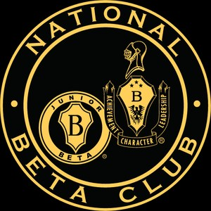photo of the official emblem/logo of the National Beta Club, black background with gold design