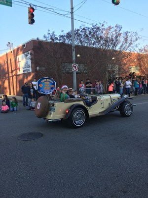 Haven Hasty in Super Reader car at the Christmas Parade
