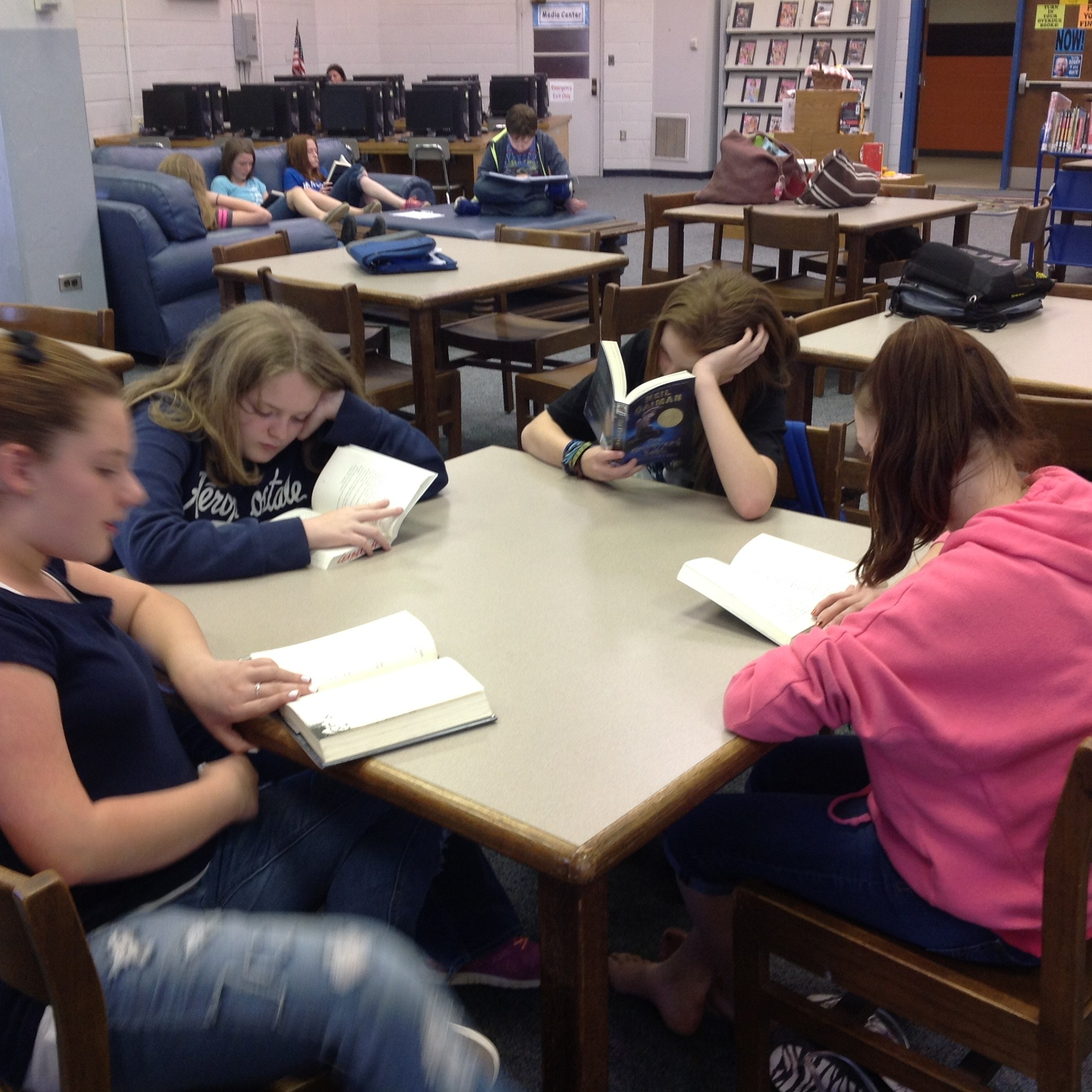 Students in Media Center