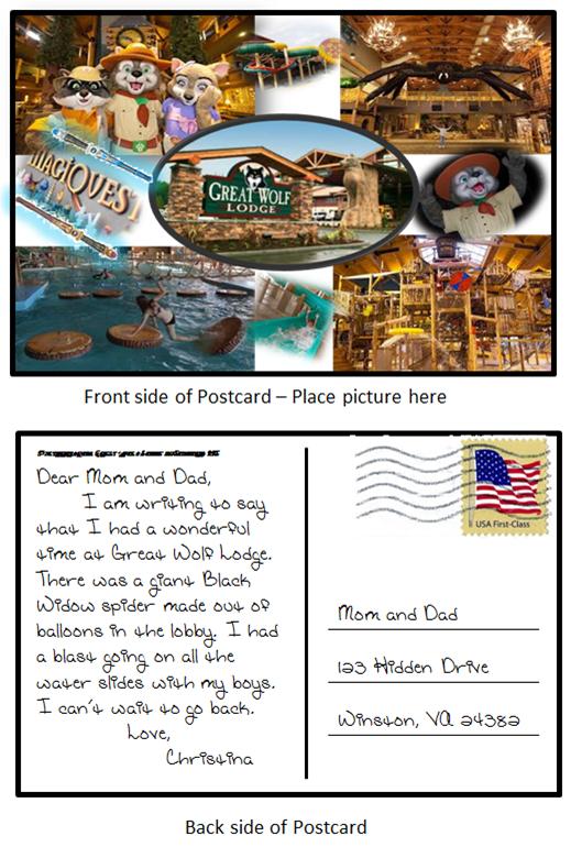 A postcard the 4th grade makes