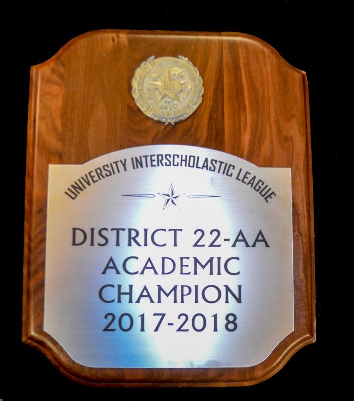 District Champion Plaque