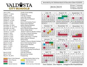 Amended 2018 - 2019 Academic Calendar