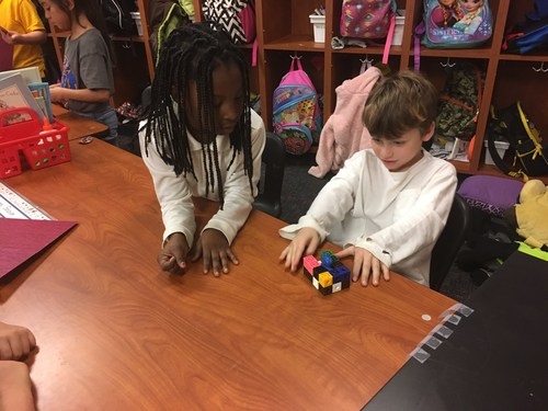 Students participating in the STEM challenge