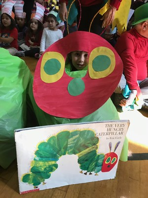 student dressed as very hungry caterpillar