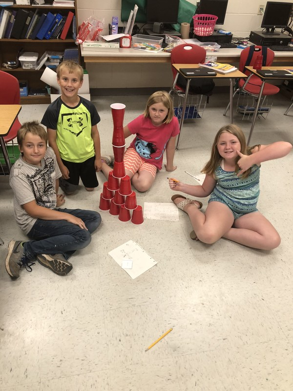 Mrs. Ray's 4th Grade Class Builds Tower out of Cups Featured Photo
