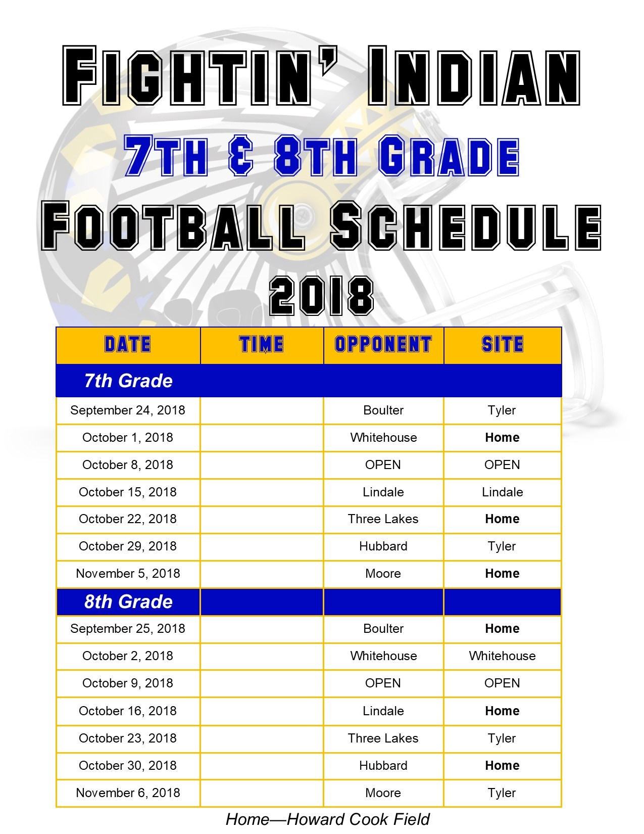schedule for 7th and 8th grade football teams