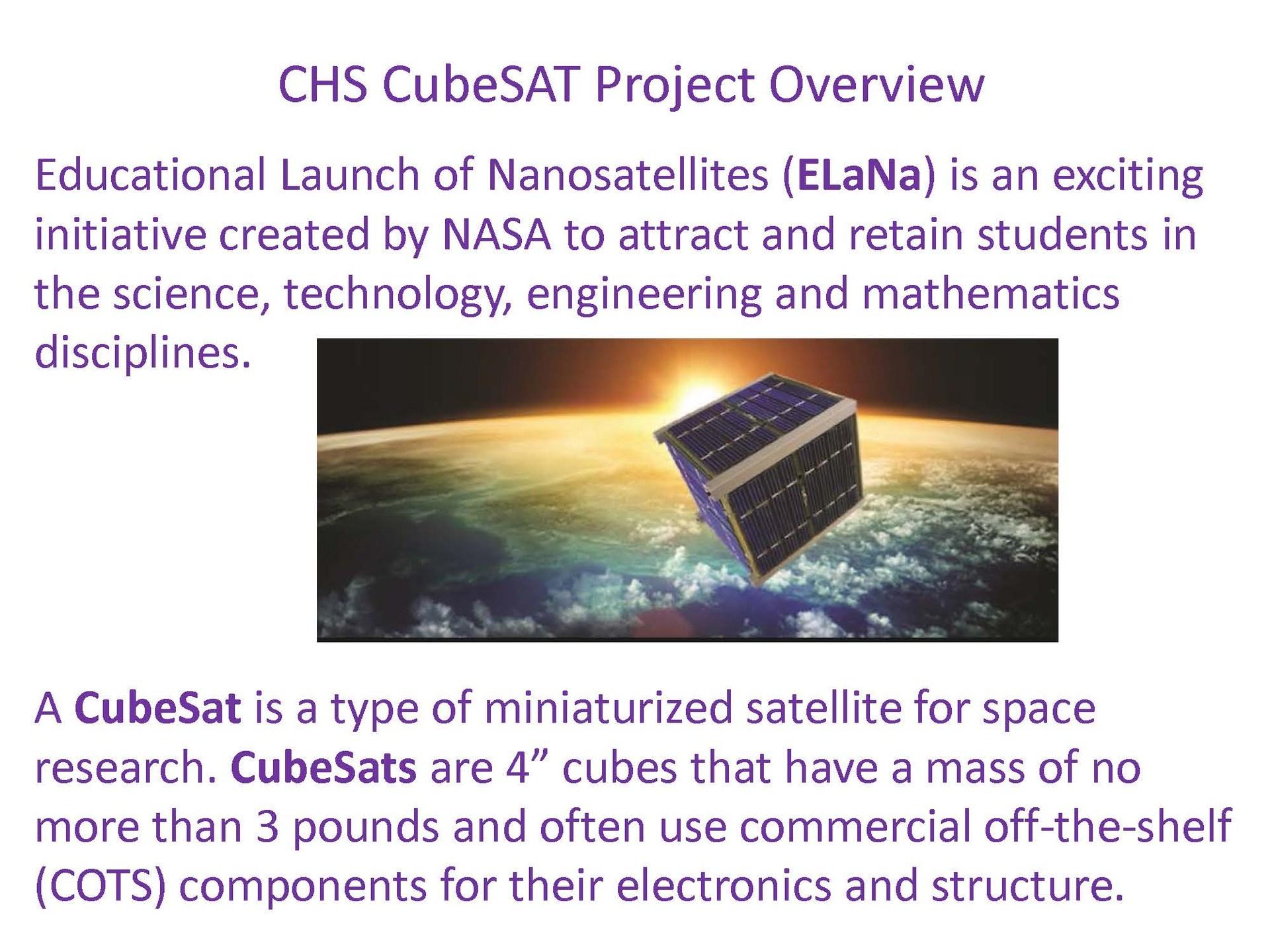 CHS CubeSAT project overview