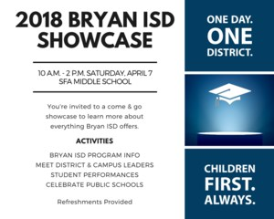 2018 Bryan ISD Showcase Invitation