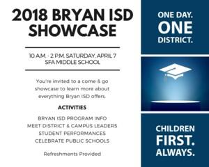 2018 Bryan ISD Showcase Invitation