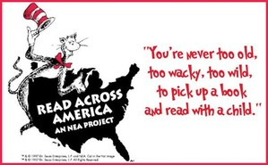 The Cat in the Hat leaning against a map of the United States