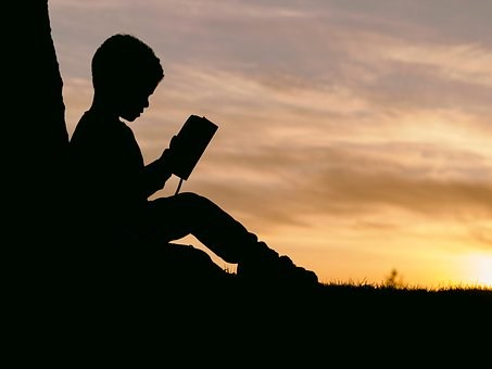 Boy Reading at Sunset