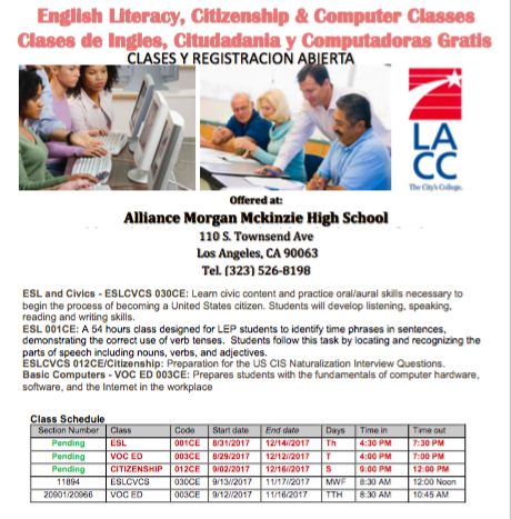 We have Fall semester parent and community ESL, Computer, and Citizenship Classes Thumbnail Image