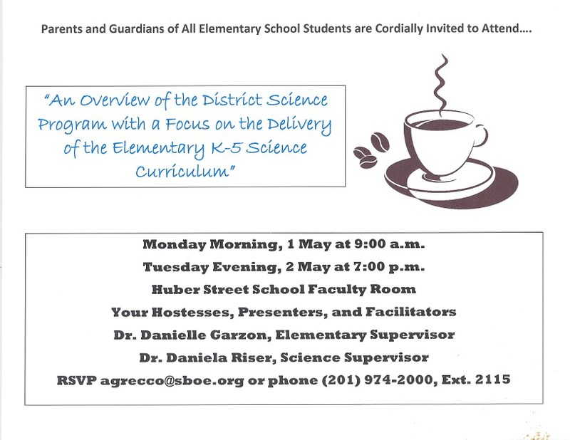 Upcoming Coffee With the Elementary Supervisor - Monday, May 1st at 9:00 a.m. and Tuesday, May 2nd at 7:00 p.m. at Huber Street School Thumbnail Image