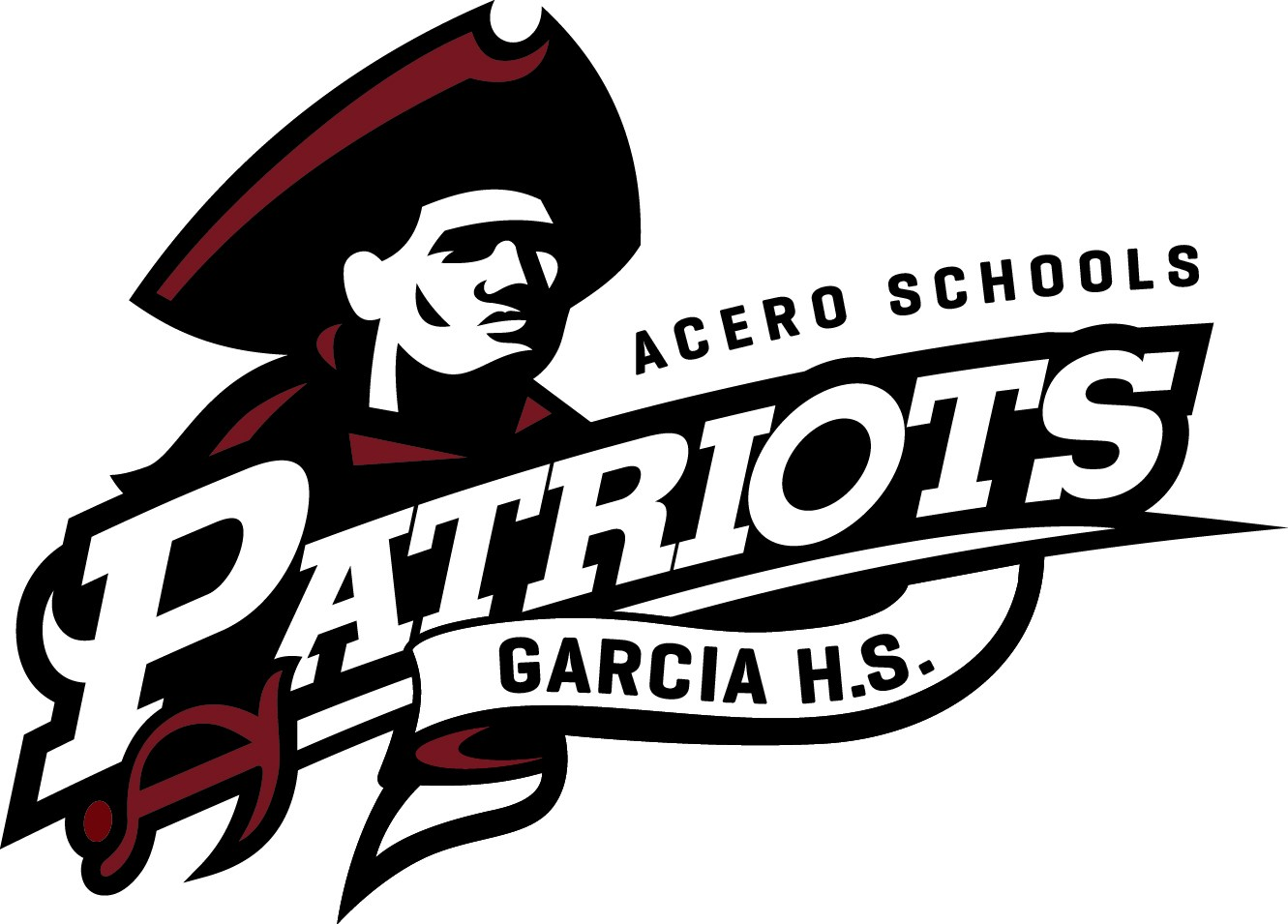 School logo shows a revolutionary war era patriot in a tri-fold hat with the school name and mascot listed over it