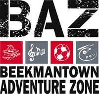 BAZ: Beekmantown Adventure Zone logo.  Contains a stacks of books with an apple on it, a couple of musical notes, a soccer ball and a painting color palette