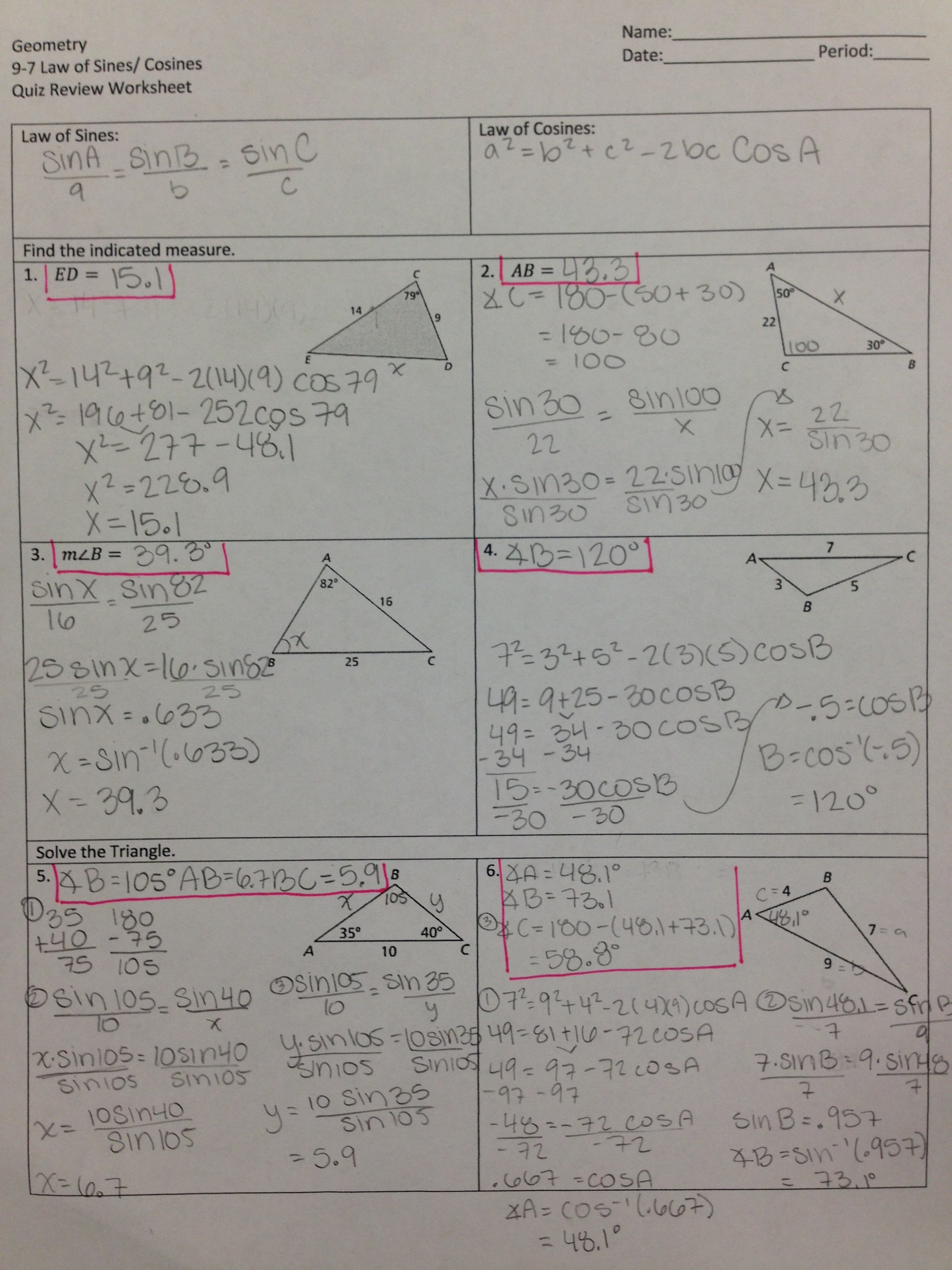 worksheet Law Of Sines And Cosines Review Worksheet valencia high school law of sines cosines quiz review worksheet solutions attached