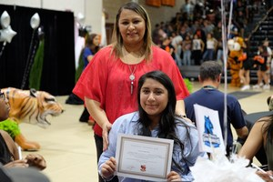 Parent Maria Torres, also an employee of SJUSD, attended College Signing Day event with daughter Kaitlyn Torres, 4-year scholarship winner headed for UC Riverside in Fall 2017.