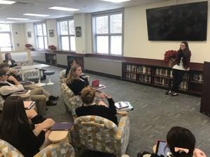 Nikki Lacherza speaks to Pope John students.