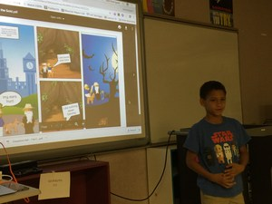 Image; Student presenting a comic strip he created