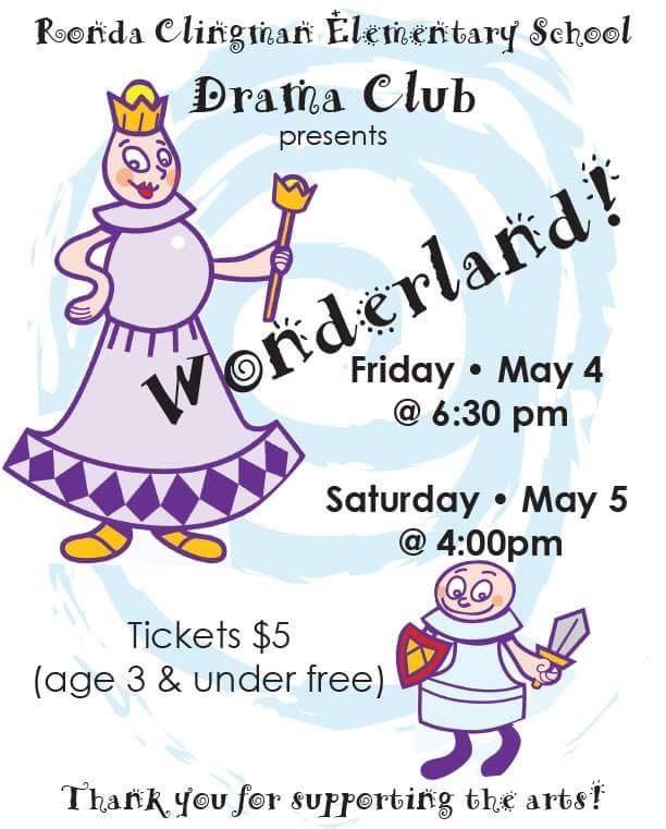 Flyer announcing Drama Presentation Dates
