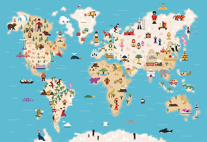 World map with icons of cultural/geographic land figures