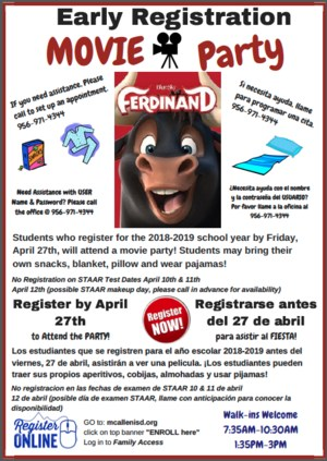 Registration Open for 2018-2019!  Register by April 27th so your child can attend the Ferdinand Movie Party!
