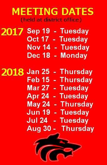 School Board Meeting Dates Image School Board Meeting Dates - Sep 19 Tuesday - Oct 17 Tuesday - Nov 14 Tuesday - Dec 18 Monday - Jan 25 Thursday - Feb 15 Thursday - Mar 27 Tuesday - Apr 24 Tuesday - May 24 Thursday - Jun 19 Tuesday - Jul 24 Tuesday - Aug 30 Thursday