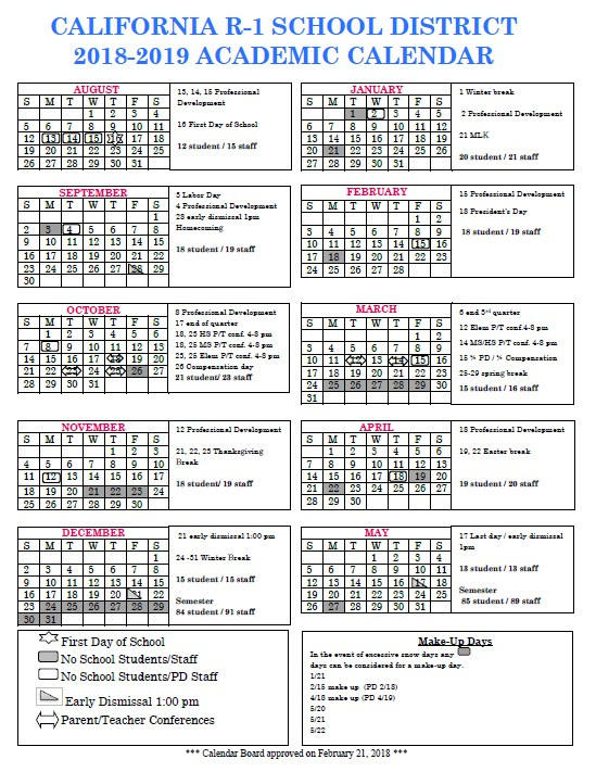 2018-19 District Calendar - Board Approved 2/21/18 Thumbnail Image