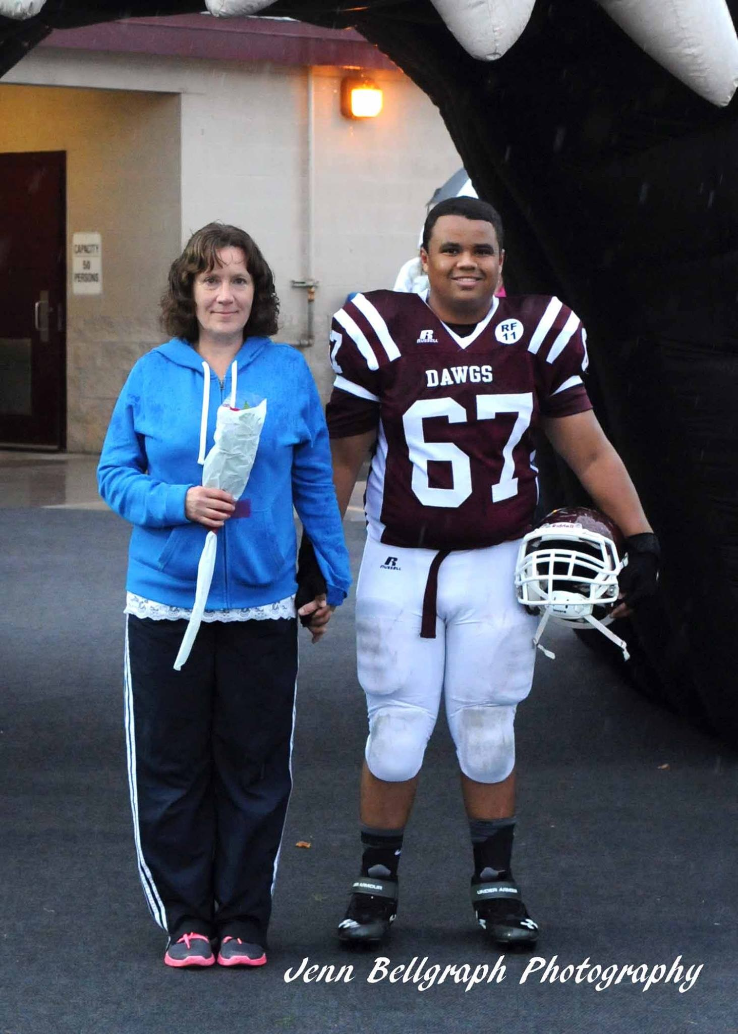 mother son football game