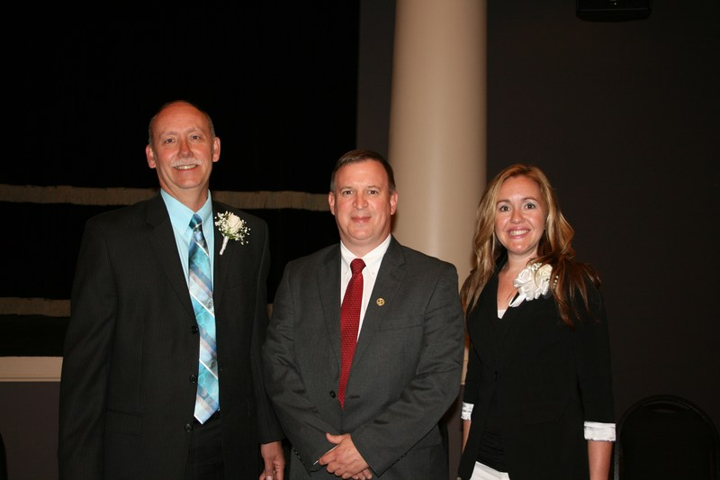 2016-2017 Principal of the Year and Teacher of Year pictured with Superintendent