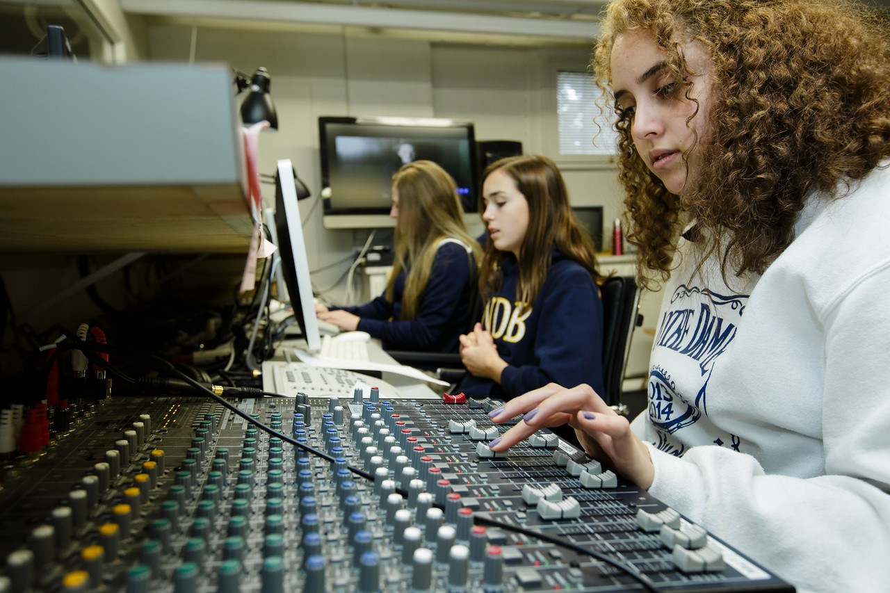Students working in the Video Production Studio