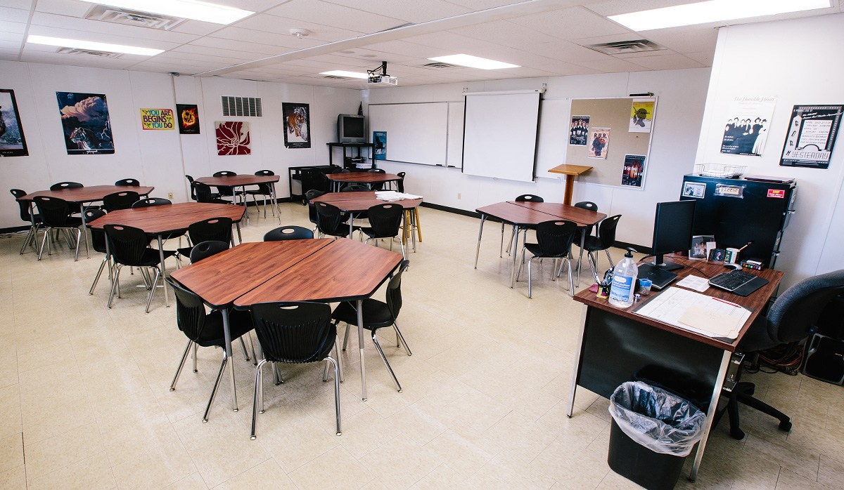 Interior view of modular classrooms closely resembling ours.