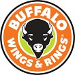 Logo for Buffalo Wings and Rings Restaurant. It includes the face of a bull within an orange and green circle. The name of the restaurant is written in the orange circle.