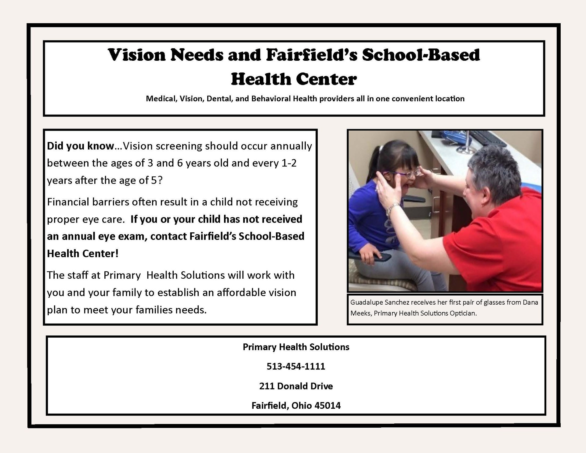 Image of a flyer for our school based health center giving information about vision services
