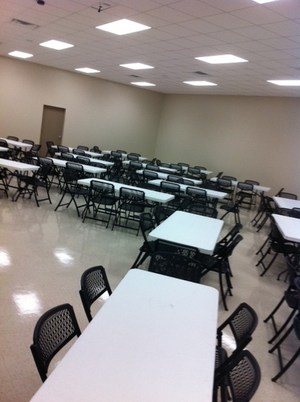 conference room d, seats 130 with tables