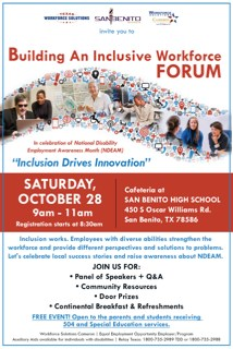 There will be a workforce solutions forum on October 28th at 8:45 AM in the cafeteria. Topic: building an inclusive workforce.