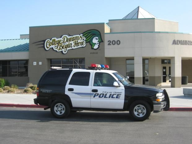 Police car in front of Tahquitz