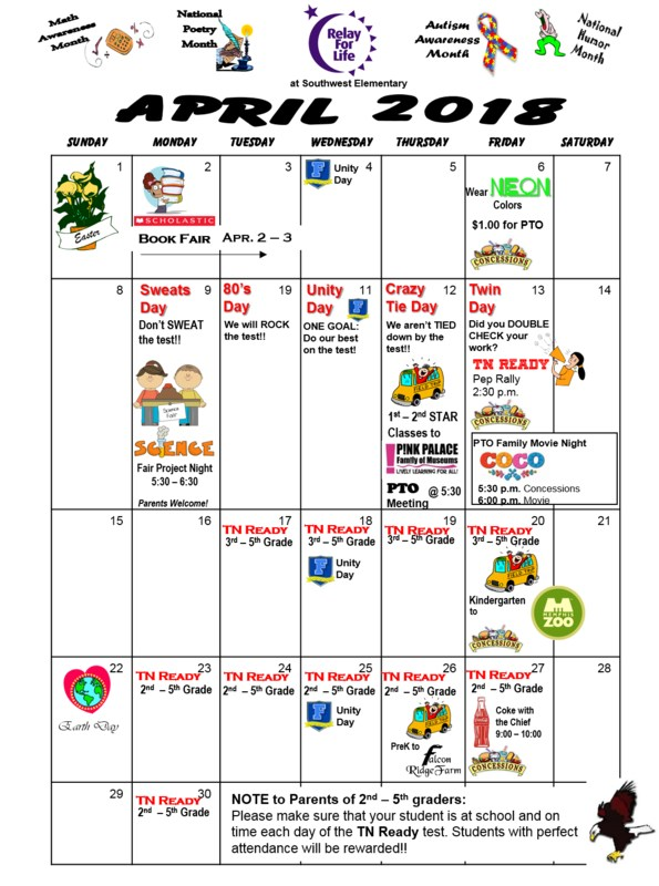 What's Happening in April at Southwest Elementary! Thumbnail Image