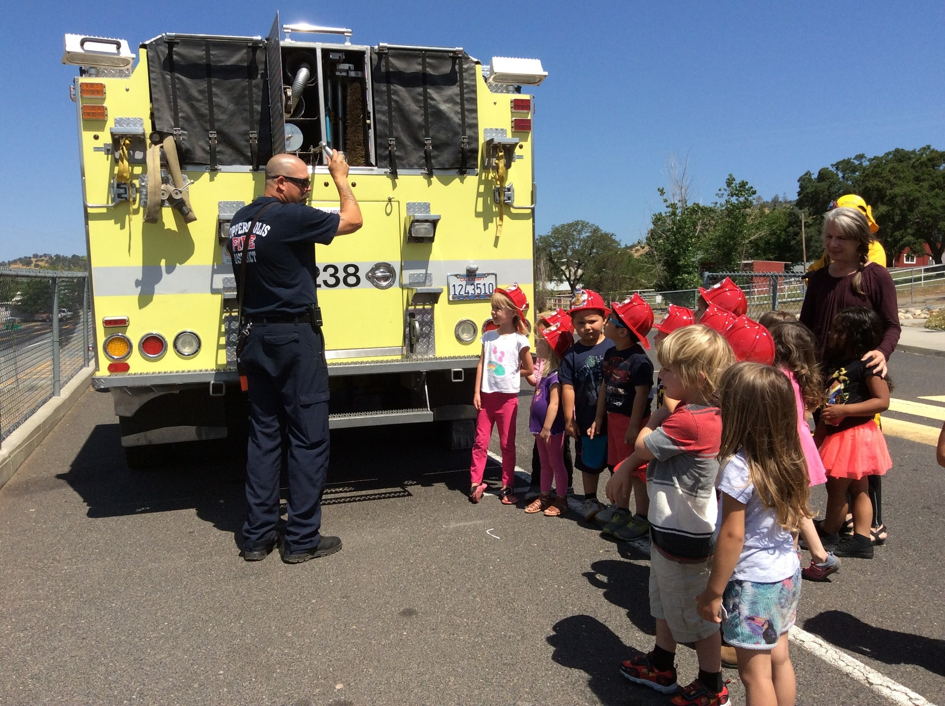 children and a fireman
