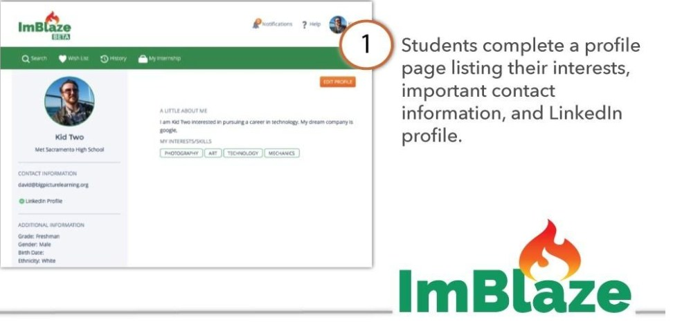 Students complete a profile page listing their interests, important contact information, and LinkedIn profile.