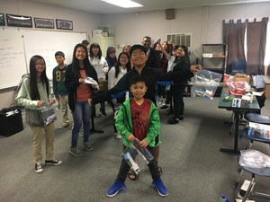 CCA students and families pose for the 2017 Toiletry Drive.