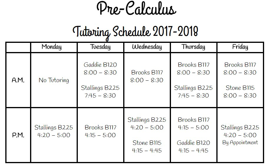Pre-Calculus Tutoring Schedule