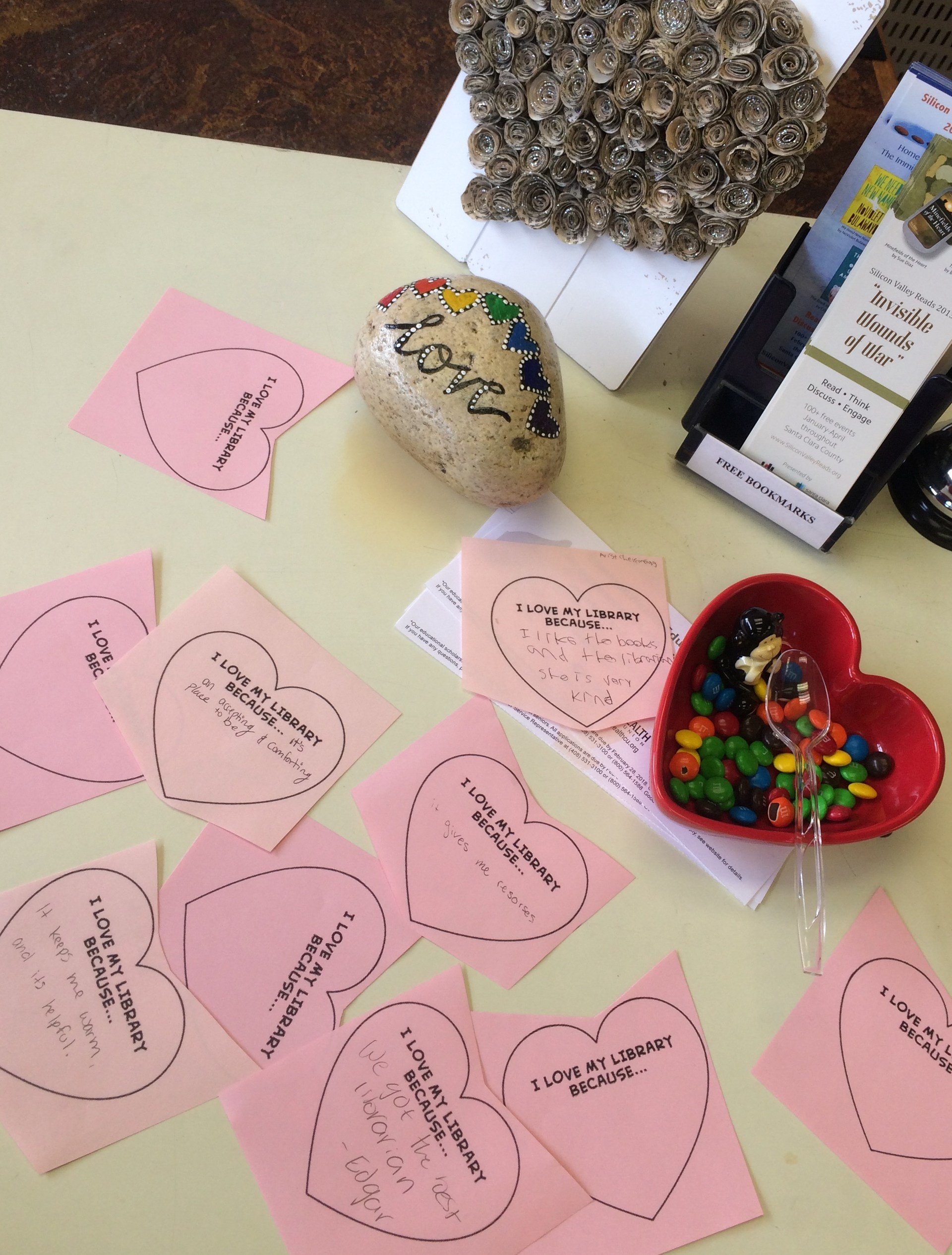 Image of hearts on Library counter