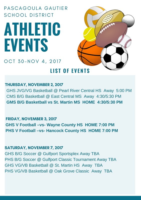 Athletic events for week of Oct. 30